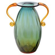 Blenko Glass Urn Vase - Double Venetian Style Handles - 2003