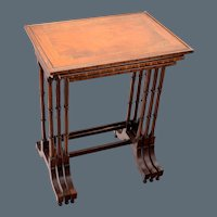 Antique Inlaid Banded Trio of Nesting Tables