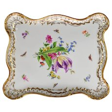 Large Antique Gilded Meissen Porcelain Tray - Butterflies, Tulip and Flowers