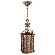 Vintage Brass Pendant Quatrefoil Light Fixture with Bent Mica Panels