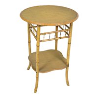 Antique English Bamboo Lamp Table