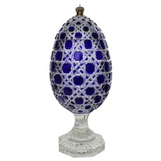 Massive Signed Imperial Faberge Russian Egg - Cut Crystal Bonbonniere