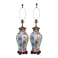 Pair Large Vintage Imari Vase Form Lamps by Wildwood with Birds and Florals