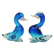 Pair Large Impressive Blue Seguso Murano Sommerso Glass Ducks