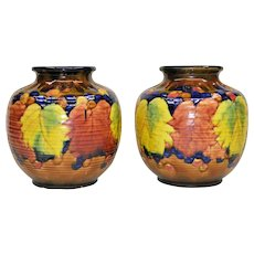 Scarce Pair Colorful Vintage Awaji Pottery Vases