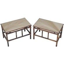 Pair Mid-Century Rattan Tables with Smokey Bronze Mirror Tops
