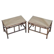 Pair Mid-Century Rattan Tables with Smokey Bronze Mirror Tops
