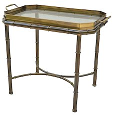 Vintage Mastercraft Faux Bamboo Tray Table - Solid Brass