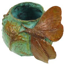 Sharles Bronze Sculptured Bowl with Moth - Limited Edition 1 of 150