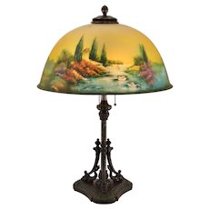 Pittsburgh Reverse Painted Scenic Lamp with Dolphin Base - Swan, Lake, Stream, Birds, Trees - 18 inch