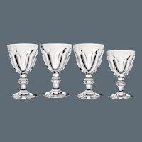 4 Baccarat Harcourt Goblets Water & Wine - Vintage