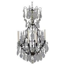 Antique French Bronze and Crystal 8 Light Chandelier