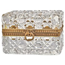 French Antique Baccarat Cut Crystal Casket Box - Dore Bronze Mounts