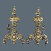 Antique Pair 19th Century French Andirons - Hairy Paw and Ball, Flame Finials