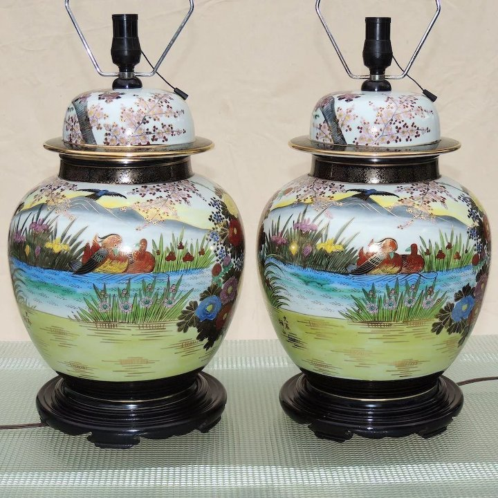 Pair Large Mid Century Ginger Jar Lamps Anese Kutani
