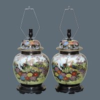 Pair Large  Mid Century Ginger Jar Lamps Japanese Kutani