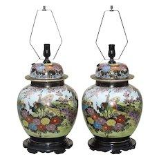 Pair Large  Mid Century Ginger Jar Lamps Japanese Kutani