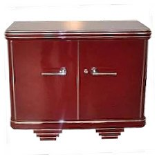 Antique Sideboard Art Deco in Bordeaux-Red