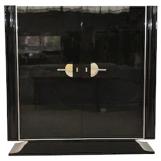 Art Deco Black High Gloss Cabinet
