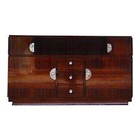 Dark Brown Palisander Art Deco Commode or Buffet
