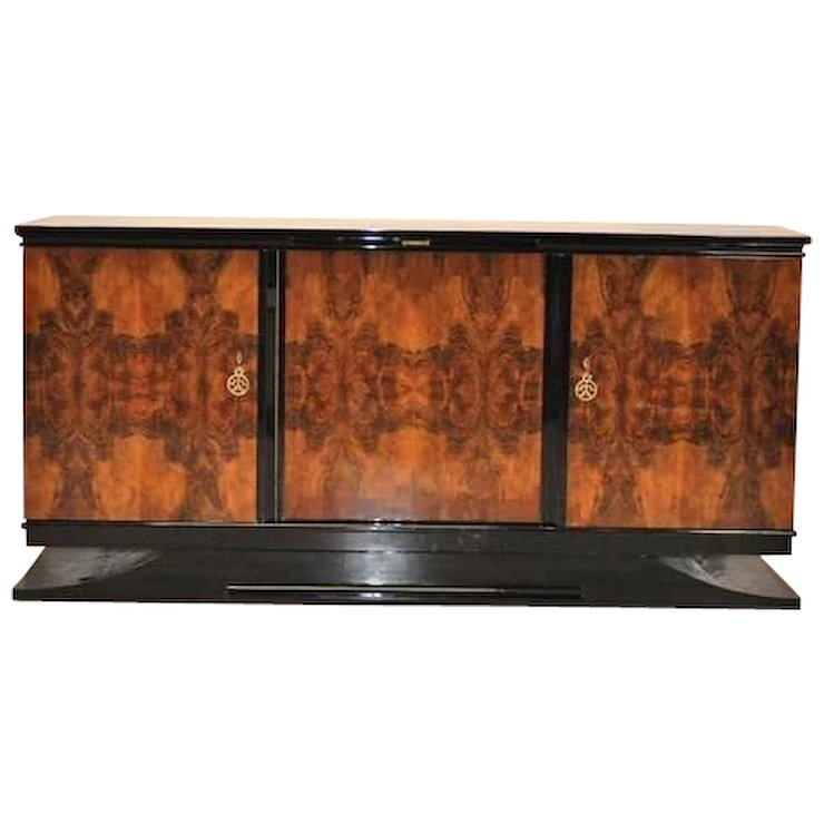 Art Deco Burlwood Sideboard from Southern France - Art Deco Burlwood Sideboard From Southern France : Original Antique