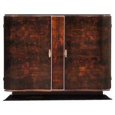 Art Deco Walnut Commode with Serpentine Doors