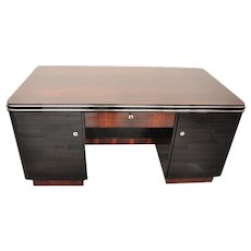 Palisander Art Deco Desk with Chrome Bars