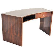 Vintage Macassar Desk with Curved Tabletop