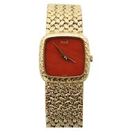 Vintage Estate Piaget Coral Faced 18K Yellow Gold Ladies Wristwatch Very Rare