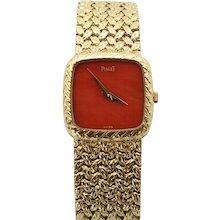 Vintage Estate Piaget Coral Faced 18K Yellow Gold Ladies Wristwatch Very Rare