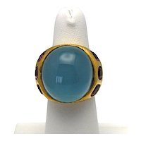 Estate Hugh 14K Aquamarine Cabochon 33.97 Carats Handmade Yellow Gold Dome Ring with Pink Toumalines