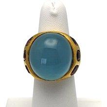 Estate Hugh 14K Aquamarine Cabochon 33.97 Carats Handmade Yellow Gold Dome Ring with Pink Toumalines