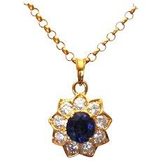 Ladies 18K Yellow Gold Diamond and Sapphire Pendant 2.50 Carats fantastic Chain