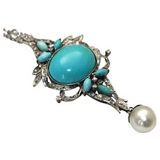 Persian Turquoise Diamond Pendant in Palladium with South Sea Pearl