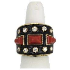 David Webb Bastille Ring Coral Diamonds Enamel Manhattan Minimalism Collection 18K Yellow Gold