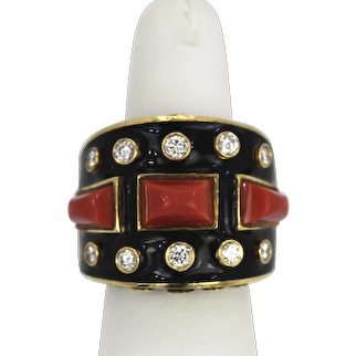 David Webb Bastille Ring Coral Diamonds Enamel Manhattan Minimalism Collection 18K Yellow Gold