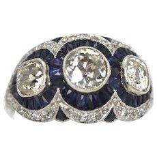 Original Art Deco Platinum Sapphire Ring 3.28 Carats circa 1920's