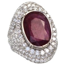 Large Natural Ruby 4.58 carats set in a 18K White Gold Mount 4.02 carats of Diamonds to total 8.60 Carats