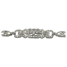 "Art Deco Diamond Platinum Bracelet 7 1/4"" long approx. 4.00 carats"