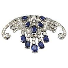 Art Deco Platinum Sapphire Diamond Fringe Brooch 6.08 Carats Circa 1935