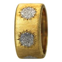 Buccellati 18K Textured Brushed Yellow Gold Ring with White Gold Circles Size 7