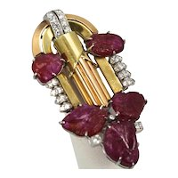 Art Deco 20.00 Carat Carved Ruby & Diamond Brooch 18K Yellow Gold and Platinum