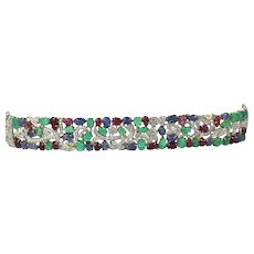 Tutti Frutti 43.55 carats Diamonds Sapphires, Emeralds, Ruby 18k White Gold Bracelet