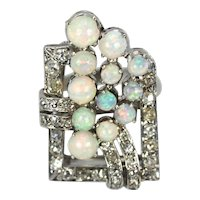 Platinum Art Deco Early 20th Century Diamond & Opal Circular Spray Geometric Ring