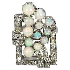Platinum Art Deco Early 20th Century Diamond & Opal Circular Spray Geometric Ring