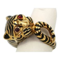 "David Webb Tiger Ring ""animal kingdom collection"" black enamel with Ruby Eyes and wide band"