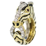 David Webb 1.32 tcw Diamonds & Rubies Animal Kingdom Zebra Ring Yellow Gold 18K