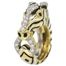 David Webb 1.32 tcw Diamonds & Rubies Animal Kingdom Zebra Ring Yellow Gold 18K