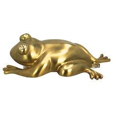David Webb Huge Iconic Frog Toad Brooch in 18K Matt Gold