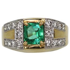 David Webb Green Emerald Diamond Ring